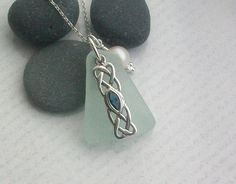10% OFF UNTIL 30/11/12 ~ just email me celticshore@hotmail.co.uk to recieve discount  Sea Glass and Sterling Silver and SaPphire Celtic Knot Necklace- SAPPHIRE £25.00