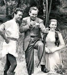 Richard Todd, Walt Disney, and Joan Rice (The Story of Robin Hood and His Merrie Men)