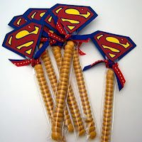 Superman Theme: M Party Favors. You could do the same with yellow candy & a Batman tag, etc. I think I'd like a red, white & blue one with a Captain America tag.