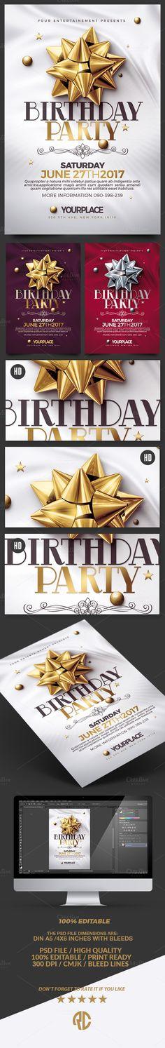 Birthday Invitation | 3 Psd Template by Creative Flyers on @creativemarket