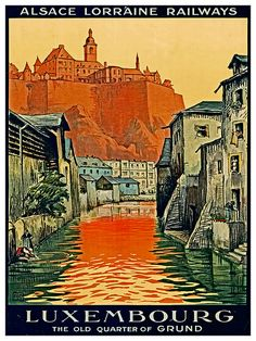 Luxembourg Art Wall Print Travel Poster TR51 by Blivingstons