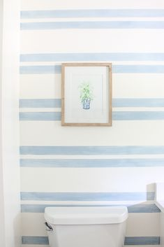 Striped Walls with Washed Out Blue Stripes If you're looking for a fresh and easy alternative to standard striped walls, take a look at this washed out stripes bathroom accent wall. Bathroom Accent Wall, Bathroom Accents, Striped Bathroom Walls, Bathroom Fixtures, Striped Accent Walls, Paint Accent Walls, Chevron Walls, Herringbone Wall, My Living Room
