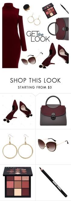 Get the Look by dressedbyrose on Polyvore featuring Huda Beauty, Manic Panic NYC, ootd, burgundy, polyvoreeditorial and gamiss