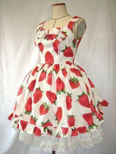 Strawberry dress minus the bow Strawberry Dress, Strawberry Garden, Strawberry Decorations, Strawberry Fields Forever, Japanese Street Fashion, Fashion Lighting, Cute Fashion, Kawaii Fashion, Mori Girl