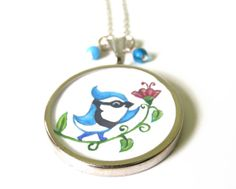 Blue Jay Necklace  Hand Painted Watercolor American by keneka, $23.00