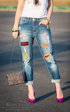 Schockverliebt : Jeans mit Patches und Glitzertasche