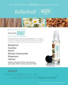 Essential oil roller bottle recipe to release grief.