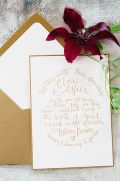 Pretty gold invitations: http://www.stylemepretty.com/2014/06/10/gold-pink-wedding-inspiration/ | Photography: Kerinsa Marie - http://www.kerinsamarie.com/