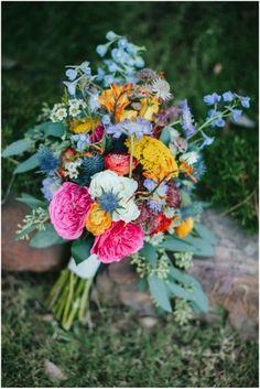 colourful rustic bouquet shot by Jen Dillender