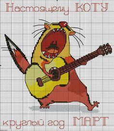 Gallery.ru / Фото #33 - Забавные схемы 2 - elena-555 Cross Stitch Designs, Cross Stitch Patterns, Cross Stitch Music, Cross Stitch Animals, Cross Stitching, Beading Patterns, Tigger, Bowser, Funny Cats