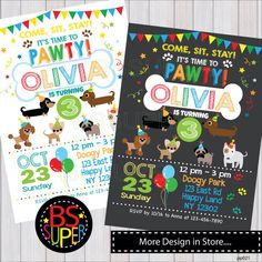 Puppy Party Invitation , Puppy Birthday Party , Puppy Party Invitation, Dog party by BSsuperclipart on Etsy https://www.etsy.com/listing/466151296/puppy-party-invitation-puppy-birthday