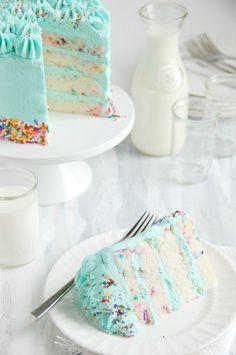 Funfetti Celebration Cake. Perfect for a confetti birthday party.