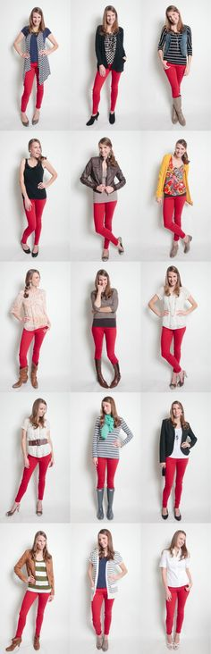 Ways to wear red jeans