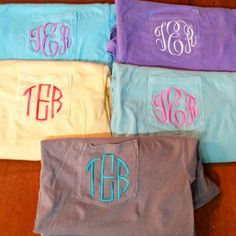 Short sleeve monogram comfort colors pocket tees by The Initialed Life start at just $17. There are so many shirt colors and thread colors to choose from to customize yours! These are making excellent holiday presents!