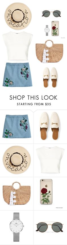 """""""Untitled #753"""" by ichanee on Polyvore featuring H&M, Gucci, August Hat, Puma, JADE TRIBE, Daniel Wellington and Ray-Ban"""