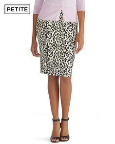 White House | Black Market Petite Leopard Print Pencil Skirt #whbm 570116102 black/white 4 petite