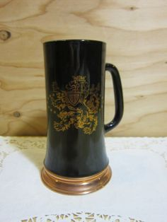 Rare Vintage VIP Lion Crest Black Glass With Copper Bottom Beer Stein * Collectible VIP Lion Crest Glass and Copper Tankard Mug by RainbowConnection15 on Etsy