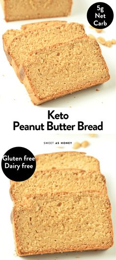 KETO PEANUT BUTTER BREAD a healthy peanut butter bread for breakfast with only 5 g net carb per serve, gluten free, dairy free and low carb Low Carb Desserts, Low Carb Recipes, Bread Recipes, Healthy Recipes, Peanut Butter Bread, Healthy Peanut Butter, Sugar Bread, Sugar Free Strawberry Jam, Cupcakes