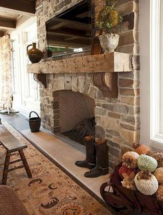 Rustic fireplace decor ideas and choices run the gamut from a bulky decorating id . rustic mantle decor home decorating ideas in plans fireplace Rustic Fireplaces, Farmhouse Fireplace, Fireplace Mantle, Living Room With Fireplace, Fireplace Design, Rustic Farmhouse, Fireplace Ideas, Wood Mantle, French Country Fireplace