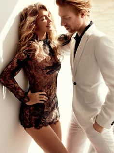 the big tease: gigi hadid and domhnall gleeson by mario testino for us vogue december 2015