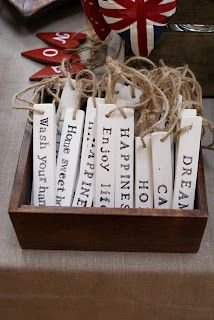 Easy to make and could say anything. Would be wonderful with Bible Verses reversing the Christmas Story, hung around the tree. Great DIY gift as well!