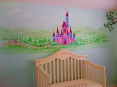 Princess castle with landscape and a carriage for a girls bed room.  can be painted on self adhesive stick and peel fabric that sticks on any smooth wall, reusable. Nice feature for a girly room.