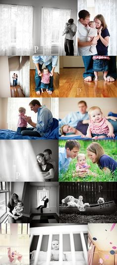 6 month photos - Lifestyle. I love the one of the mom holding up the baby while she is sitting on the window ledge.