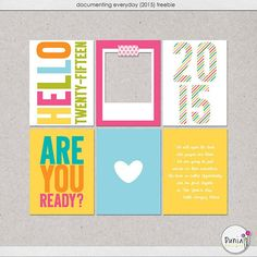 Hello 2015 Free Printable Project Life Cards