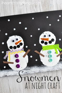 Read Snowmen at Night after building a snowman on a snowy, winter day and afterwards can get crafty creating this snowmen at night craft. Fun winter craft for kids and preschool kids craft. MW = One of the several ideas I've found for us to do during this year's Christmas break from school :)