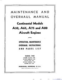 Maintenance And Overhaul Manual Continental Models A50 A65 A75 And A80 Aircraft Engines Aircraft Engine Aircraft Engineering