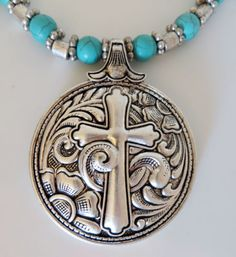 Cowgirl Bling CROSS Western Scroll Concho Turquoise Silver Gypsy Necklace set our prices are WAY BELOW RETAIL! all JEWELRY SHIPS FREE! www.baharanchwesternwear.com baha ranch western wear ebay seller id soloedition