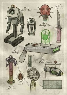 'Rick and Morty - Vintage Gadgets Poster by BelovedOddities - Compra «Rick y MortyGadgets Vintage # 1 Tatuaje Rick And Morty, Rick Und Morty Tattoo, Rick And Morty Drawing, Ricky Y Morty, Rick And Morty Poster, Cartoon Design, Girl Cartoon, Tattoos For Guys, Tatoos