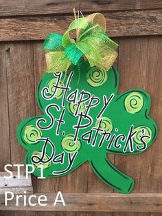 """St. Patrick's Day Door Hanger - 24"""" - Clover or Leprechaun -  Personalize w/ your saying - Cute Gift - Teacher Gift - Classroom - New Home"""