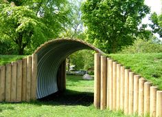 Kids: we have a tunnel like this at school playground and the kids love it. The school one is built from a large concrete pipe Kids: we have a tunnel like this at school playground and the kids love it. The school one is built from a large concrete pipe Natural Playground, Backyard Playground, Backyard For Kids, Playground Ideas, Backyard Ideas, Outdoor Play Spaces, Outdoor Fun, Outdoor Ideas, Outdoor Classroom