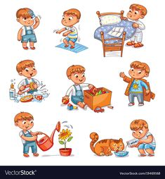 Daily Routine Child Combing His Hair Stock-Vektorgrafik (Lizenzfrei) 691565776 Daily Routine Kids, Daily Routine Activities, Preschool Activities, Routine Chart, Kids Schedule, Washing Dishes, Camping Gifts, How To Make Bed, Cartoon Kids