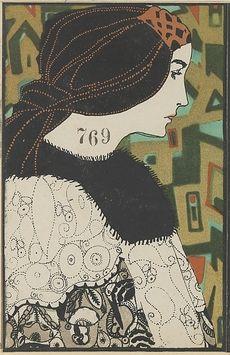 Fashion illustration by Maria Likarz for Wiener Werkstatte, 1912. Lithograph