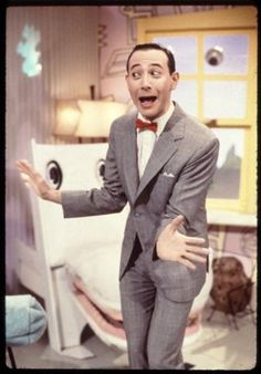 *PEE WEE HERMAN*  Fictional character. Real name Paul Reubens, born Paul Rubenfeld. Comic made famous by his alter-ego, a quirky man-child instantly recognisable by his bright red lipstick, a matching mini bow tie, and a one-size-too-small grey suit with high-waters riding well above gleaming white shoes ... Was arrested in 1991 for exposing himself in an X-rated cinema in Sarasota, Florida, ending the run of Pee-Wee's Playhouse.  Watch...https://www.youtube.com/watch?v=UVKsd8z6scw