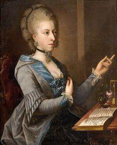 Portrait der Ehefrau des Johann Kaspar Enslin (Portrait of the Wife of Johann Kaspar Enslin), c. 1788 / Georg Anton Abraham Urlaub (1744-1788) À noter la capuche