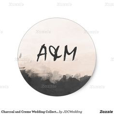 Charcoal and Creme Wedding Collection Classic Round Sticker @zazzle April 12 2x