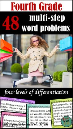 """These multi-step word problems are great for morning work, math centers, and fast finishers. Rigorous and motivating! Teacher tested with proven results! """"Wonderful resource! Not only do my students love it, this is a super teacher friendly tool!"""" -Lauren """"These are great for a differentiated problem of the day station."""" -Buyer"""" ~ 48 self-checking multi-step differentiated word problems! A real life-saver!!"""