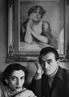 "davidhudson: ""Luchino Visconti and his sister in front of a portrait of their mother. """