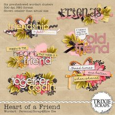 """Heart of a Friend Digital Scrapbooking Wordart Love without condition, talk without intention, give without reason, care without expectation... this is the heart of a true friend. This new digital scrapbooking collection by Trixie Scraps, """"Heart of a Friend,"""" celebrates those people who play such an important role in our lives - our truest friends. It's perfect for all your best girly scrapbook pages!"""