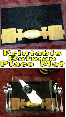 Throw a fun Superhero dinner party with this printable Batman place mat. Simply print and decorate your dinner party with some super fun.  Or get the whole set and make a league of fun to celebrate.