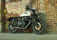 """MOKKA Cycles Yamaha XS250   """"As I mentioned, it's my first bike. I'm not a pro builder, I'm just learning, but I've got ambitions. I also have another project in progress, it's a moped-based cafe racer… so I'm on the way to try to and build a brand as well, this is MOKKA Cycles."""""""