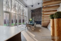 Yakusha Design Studio designed this 240 square meter house in the form of a cube surrounded by trees. The residence is located in Bucha near Kiev, Ukraine. House In The Woods, Cube, Interior Design, Studio, Architecture, Inspiration, Furniture, Dining Rooms, Home Decor