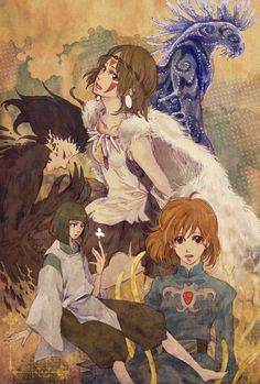 """Fanart featuring characters from various Hayao Miyazaki films: the Forest Spirit and San from """"Princess Mononoke"""", Howl from """"Howl's Moving Castle"""", Haku from """"Spirited Away"""" and Nausicaa from """"Nausicaa: Valley of the Wind"""" - Art by 392                                                                                                                                                                                 Plus"""