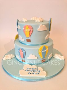 Christening / Baptism – Cake design was supplied by customer. Boys 1st Birthday Cake, Birthday Themes For Boys, Baby Shower Balloons, Baby Shower Cakes, Fondant Cake Designs, Button Cake, Christening, Cupcake Cakes, Buttercream Cake