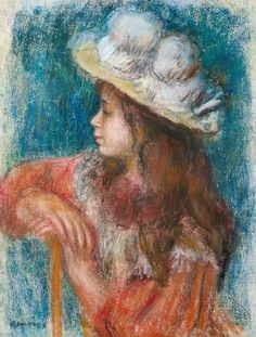 Pierre-Auguste Renoir - Seated Young Girl in a White Hat