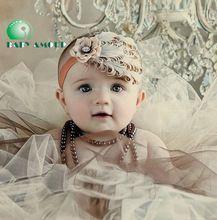 Pena bebê Headbands recém-nascido Hairbands crianças Headwear babwear flor grampo de cabelo acessórios de vestuário(China (Mainland))
