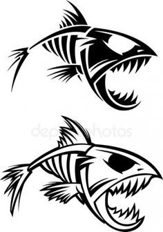 Find Fish Skeleton stock images in HD and millions of other royalty-free stock photos, illustrations and vectors in the Shutterstock collection. Skeleton Drawings, Fish Skeleton, Tattoo Drawings, Body Art Tattoos, Tribal Tattoos, Tattoo Art, Gravure Laser, Fish Design, Fish Art